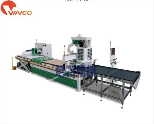 Máy CNC trung tâm gia công cửa tủ bếp ăn vật liệu tự động